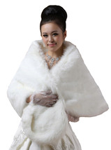 New Bridal Ivory Faux Fur Bolero Shawl Shrug One Size - $26.53