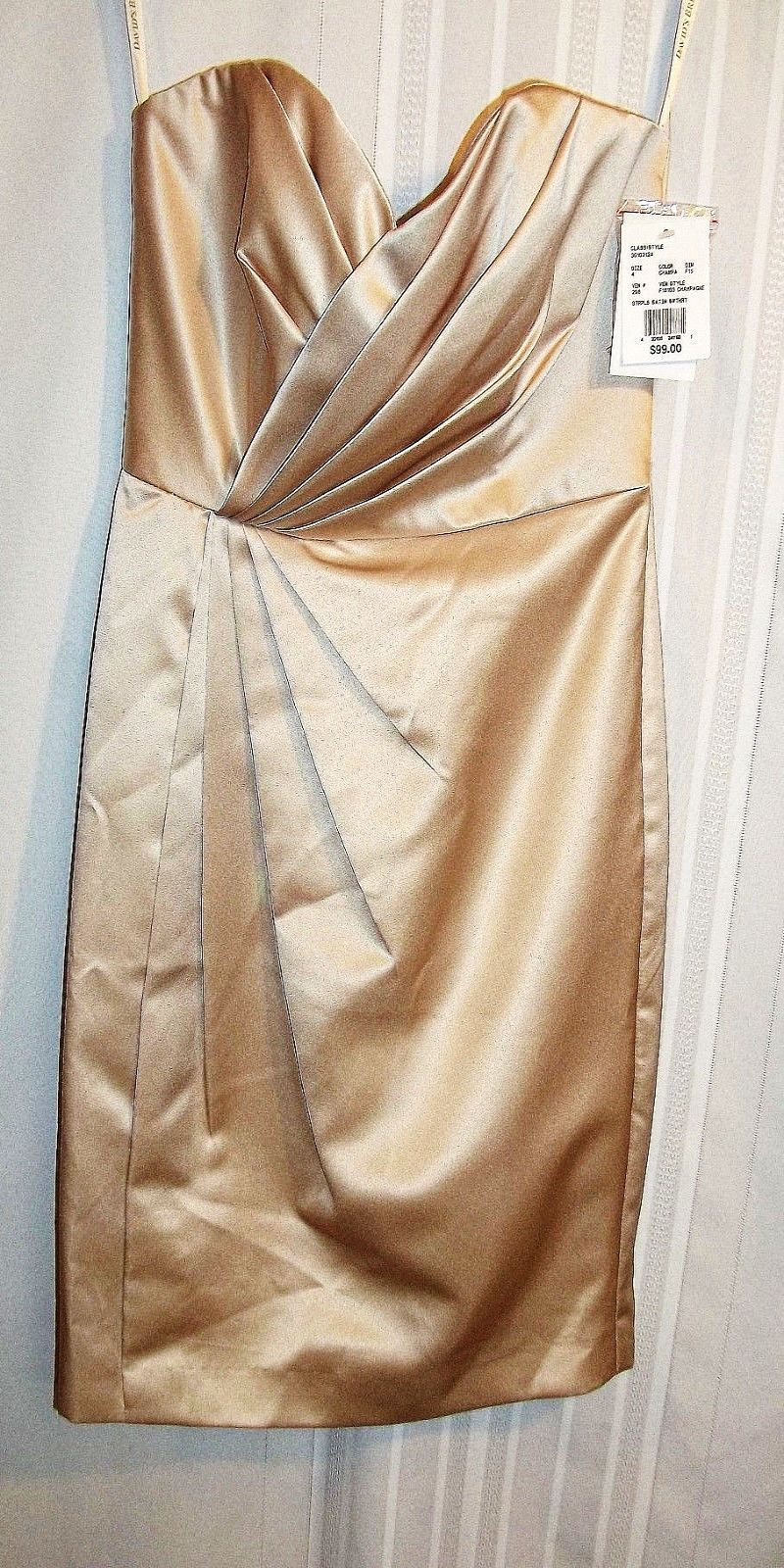 Primary image for NWT David's Bridal Short Strapless Satin Dress w/ Pleating Size 4 Sweetheart