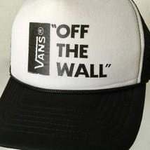 VANS OFF THE WALL Snapback Trucker Hat 5 Panel Wide Bill Mesh Black White - $33.74
