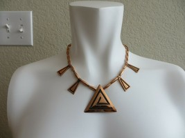 Vintage 60's Solid Copper Geometric Charms Tube Links Collar necklace 17... - $24.99