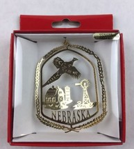 Nations Treasures Nebraska Pheasant Silo Brass Metal Ornament Souvenir - $15.00