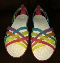 Rainbow Crocs size 8 W Sandals for pool or just walking very comfortable - $23.74
