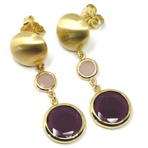 925 STERLING SILVER BIG PENDANT YELLOW EARRINGS 5cm, NUGGET, PURPLE GLASS PASTE image 1