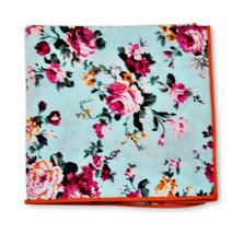 Frederick Thomas pale blue rose floral cotton pocket square handkerchief FT3401