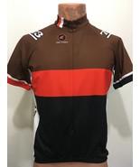 Pactimo Mens L Brown Orange Black Short-Sleeve Bike Jersey 3/4 Zip Cycle... - $33.81