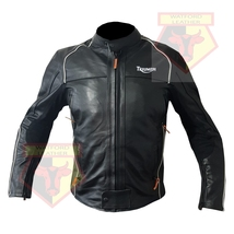 TRIUMPH 5002 BLACK COWHIDE LEATHER MOTORBIKE MOTORCYCLE BIKER ARMOURED J... - $209.99