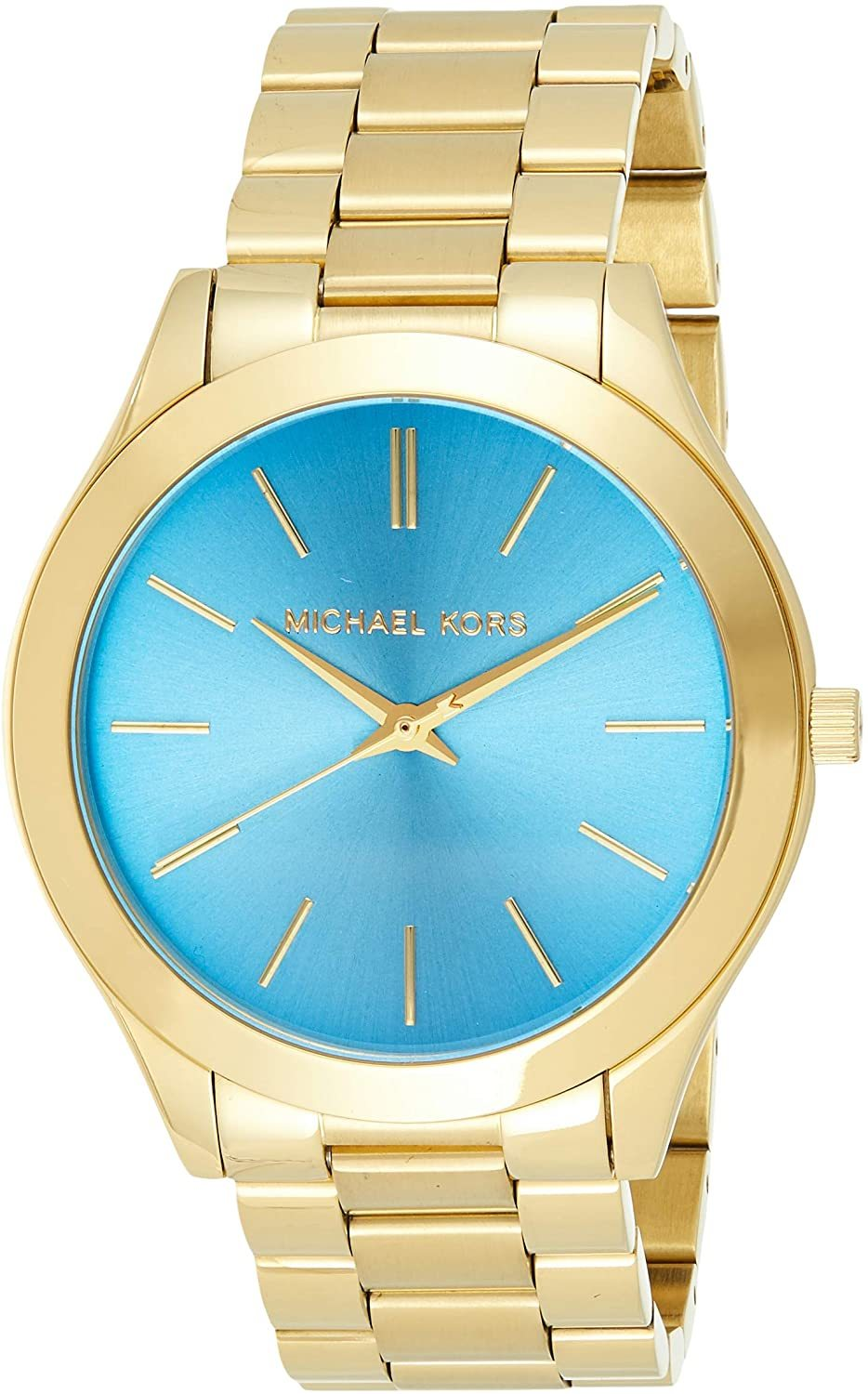 Primary image for  Michael Kors Slim Runway Rose Gold/Blue Ladies Watch MK3265 New With Tags