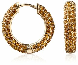 Cohesive Jewels Pave Yellow Crystal Gold Hoop Earrings w Hinge Snap Closure NWT image 1