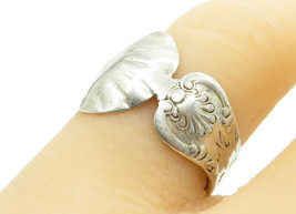 925 Sterling Silver - Vintage Clam Shell Spoon Wrap Band Ring Sz 7 - R12601 - $22.45