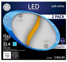 GE LED 65W Equivalent BR30 Dimmable Soft White Flood Light Bulb (2-Pack) - $15.99