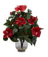 Silk Flower Arrangements Hibiscus W/ Fluted Vase Home Interior Decoratio... - $54.74