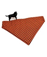 Orange Plaid Dog Bandanas, Halloween Fall Autumn pet kerchief, S M or L - $6.00+