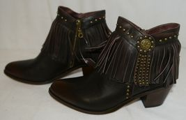 Lucky And Blessed SH11 Dark Brown Leather Boots Fringe Metal Studs Size 11 image 5