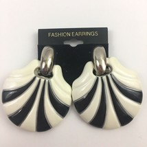 Vintage Big Door Knocker Pierced Earrings Clam Shell Shape Plastic Chunk... - $12.81
