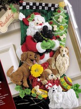Bucilla Santa Paws Dogs Puppies Santa Christmas Holiday Felt Stocking Kit 86054 - $89.95
