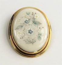 ESTATE VINTAGE Jewelry LENOX CHINA FLORAL PENDANT BROOCH - $20.00