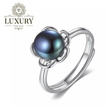 Natural Freshwater Pearl Solid 925 Sterling Silver Adjustable Flower Rings - $19.65