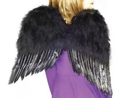 """Large Feather Costume Dark Angel Black Swan Wings 22"""" NEW In Package - $17.72"""