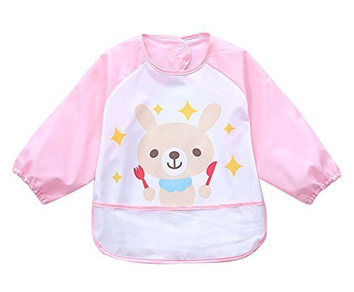 Cute Cartoon Waterproof Sleeved Bib Baby Smock Baby Bibs PINK, 0-3 Years