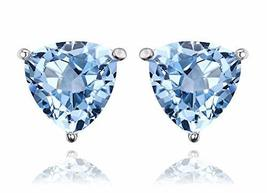 Natural Sky Blue Topaz Stud Earrings .925 SS, Gifts for Her, Wife Gifts - $53.86