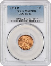 1944-D 1c PCGS MS67 RD (DDO, FS-101) - Lincoln Cent - Rare Variety - $2,619.00