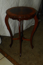 Mahogany Carved Lamp Table with Burl Inlay  (T120) - $299.00