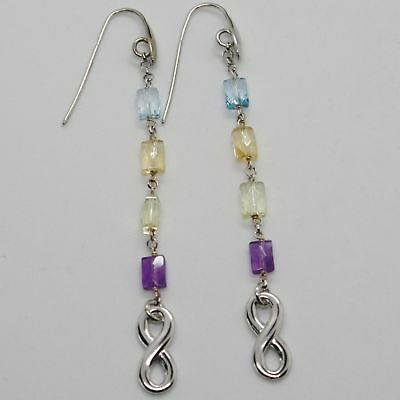 Silver Earrings 925 Tried and Tested with Infinity Quartz Citrine Topaz Amethyst