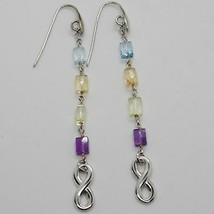 Silver Earrings 925 Tried and Tested with Infinity Quartz Citrine Topaz Amethyst image 1