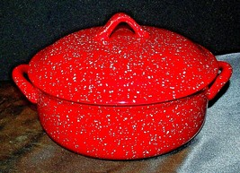 Red W.M.G. Ceramic Double Handle Serving Dish with Lid AA20-2128 Vintage image 2