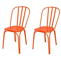 Adeco Orange Metal Chair (Set of Two) - £83.62 GBP