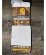 Carhartt ~ Mens 3-Pair All Season Work Crew Socks Gray Polyester Blend ~ L - $26.17