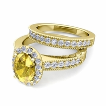 14K Yellow Gold Fn Oval Citrine & Simulated Diamond Bridal Wedding Ring Set  - $85.00