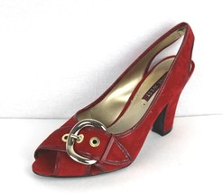 Nine West Florsha women's shoes high open toe leather upper red size 7.5 M - $21.14
