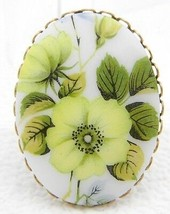 VTG Gold Tone Yellow Flower Glass Cameo Pin Brooch - $19.80