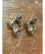 Vintage Dainty Napier Signed Shiny & Brushed Goldtone Oval Dangle Screwb... - $8.59