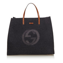 Pre-Loved Gucci Gray Wool Fabric Double G Tote Bag Italy - $701.22 CAD