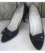 Footflair Vintage High Heels Shoes Black w Rhinestone Trim 7.5AA - $30.00