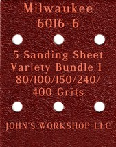 Milwaukee 6016-6 - 80/100/150/240/400 Grits - 5 Sandpaper Variety Bundle I - $7.53