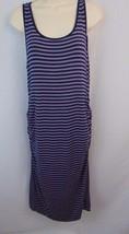 Liz Lange Maternity Dress Medium Purple Blue Stripe Sleeveless Below Knee - $12.19