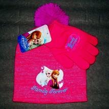 Disney Frozen Elsa e Anna Maglia Cappellino Invernale & Set Guanti W/Pom-Pom Nwt - $16.83