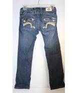 Laguna Beach Jeans Distressed Bootcut Pink Green Stitch Ultra Low Womens... - $19.79