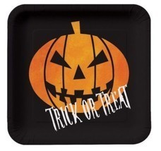 "Creepy Night Halloween Pumpkin ""Trick or Treat"" 8 7 in Dessert Plates - £2.17 GBP"