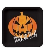 "Creepy Night Halloween Pumpkin ""Trick or Treat"" 8 7 in Dessert Plates - $2.84"