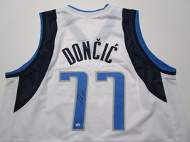 LUKA DONCIC / AUTOGRAPHED DALLAS MAVERICKS WHITE CUSTOM BASKETBALL JERSEY / COA