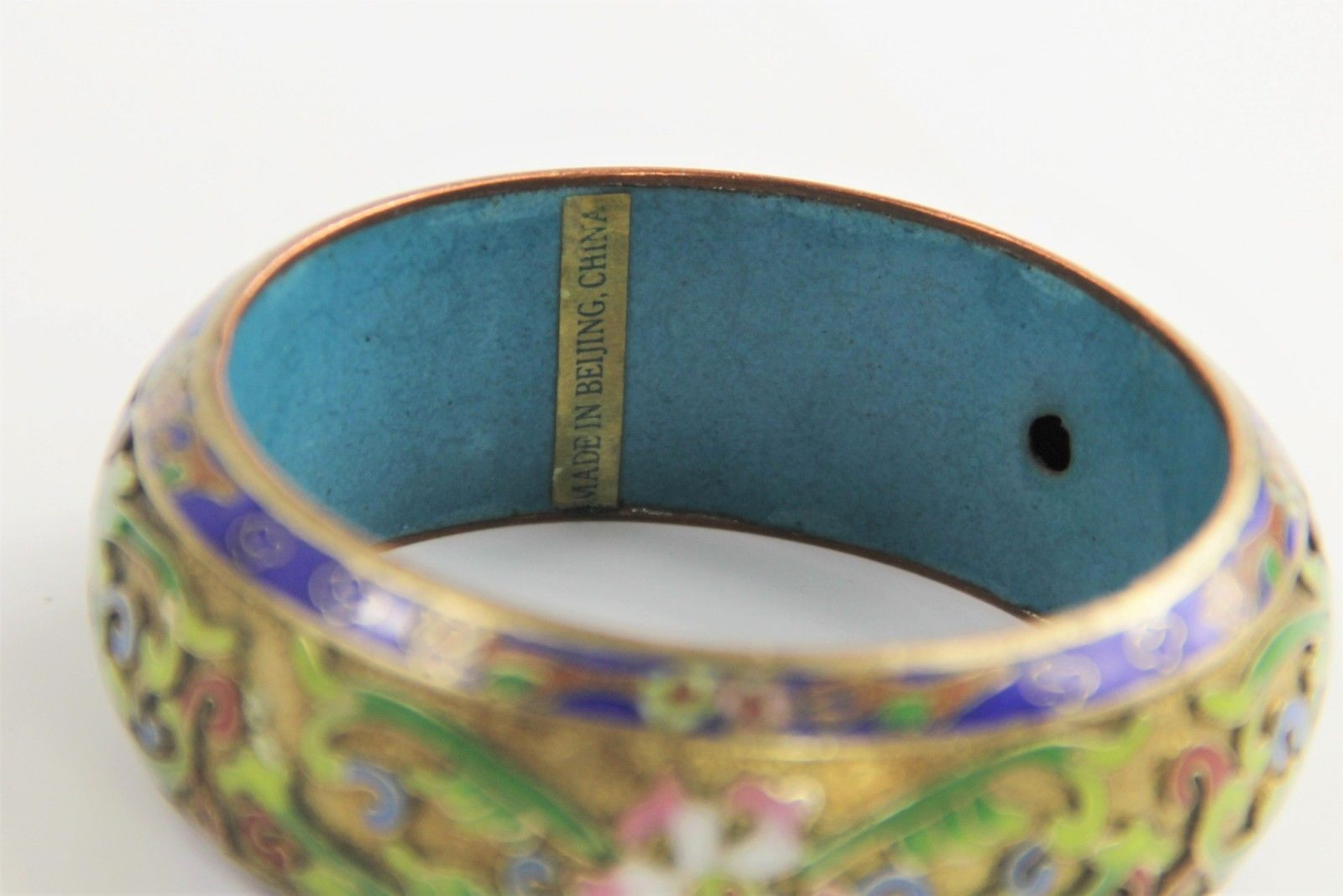 ESTATE VINTAGE CHINESE EXPORT WIDE CHAMPLEVE CLOISONNE BANGLE BRACELET BEIJING