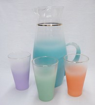 Blendo Beverage Set 80 oz Pitcher & 3 Glasses Turquoise Orange Green Pur... - $29.69