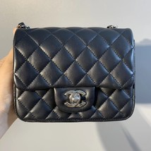 NEW AUTHENTIC CHANEL BLACK QUILTED LAMBSKIN SQUARE MINI CLASSIC FLAP BAG SHW image 2