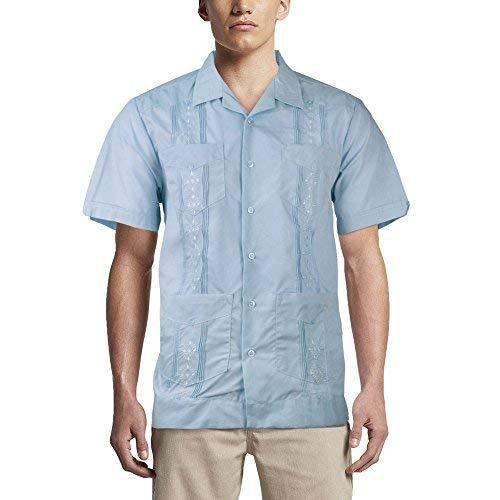 Alberto Cardinali Men's Guayabera Short Sleeve Cuban Casual Dress Shirt (L, Ligh