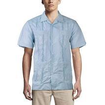 Alberto Cardinali Men's Guayabera Short Sleeve Cuban Casual Dress Shirt (L, Ligh