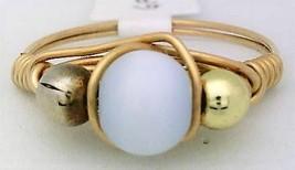 White Cat Eye Glass Bead Gold Wire Wrap Ring sz.8 - $10.07